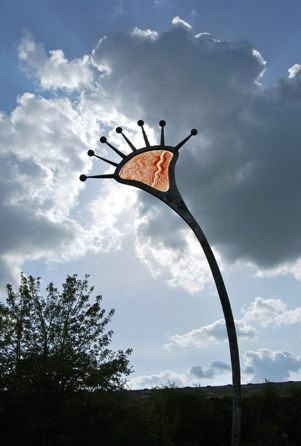 'Orange'. Steel with glass. Garden sculpture.