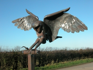 'Barn Owl in flight', Public art sculpture