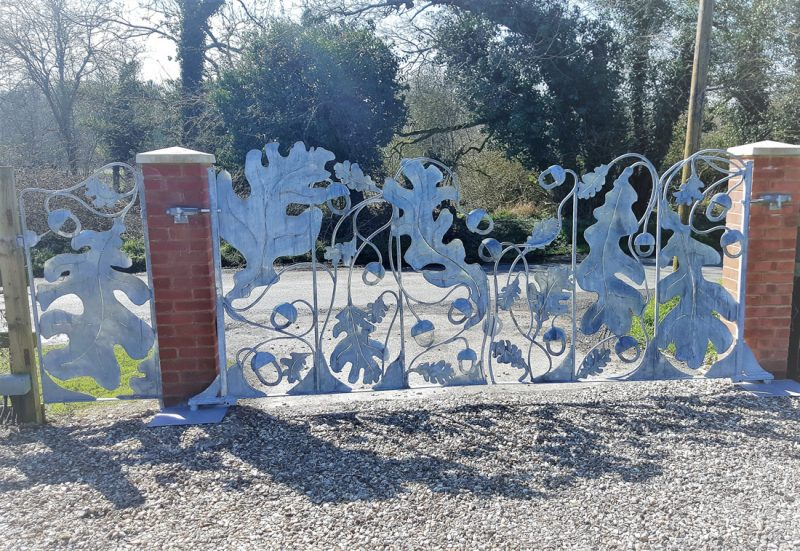 Oak and Acorn Gates. Arts and Crafts inspired. Private Commission.
